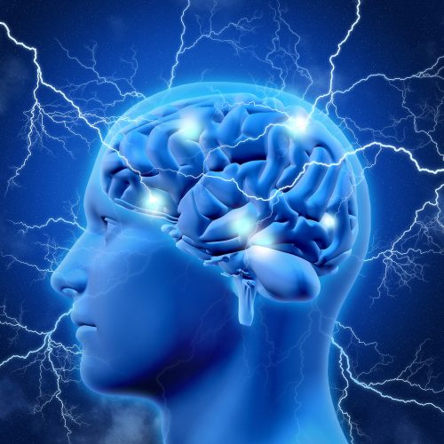 3D render of a male head and brain with lightening bolts